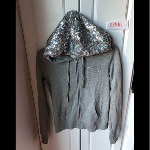 Victoria Secret pink gray MEGA BLING full zip XS